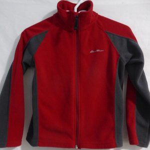 EDDIE BAUER, red & grey, fleece jacket, small, 8